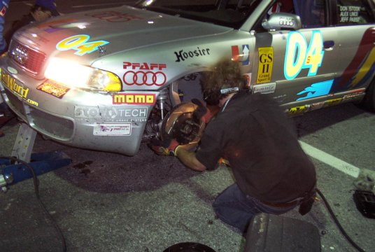 Istook/Aines S4 Gets Rotor + Caliper Change During 6HR Daytona Finale----Perry Mason Photo